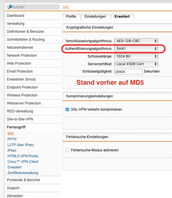 160705 Sophos VPN Mobilgeräte problem